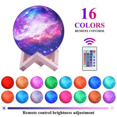 USB Star Nachtlicht Galaxy LED 3D-Druck Mondlampe 16 2020 Color Remote F2S5