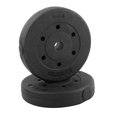 Hantelscheiben-Set 10kg Gusseisen 30mm 2 x 5 kg Gewichtsscheiben Fitness LO 04