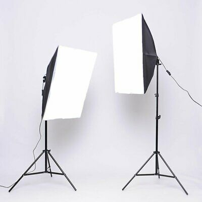 2x 135W Continuous Lighting Softbox Photography Studio Soft Box Light Stand Kit 2