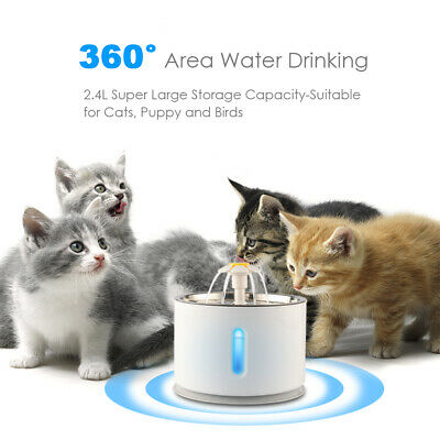 2.4L Automatic Electric Pet Water Fountain Cat/Dog Drinking Dispenser w/ Filter 6