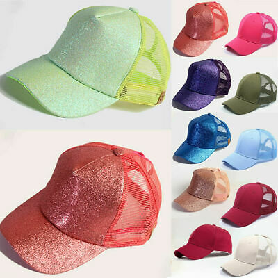 Glitter Ponytail Baseball Caps Women Messy Bun Adjustable Snapback Hip Hop Hat 8