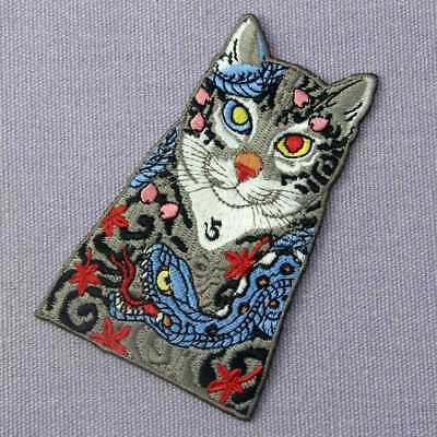 Embroidered Patches Iron Sew On transfers badges appliques Rock Cats with Snakes 3