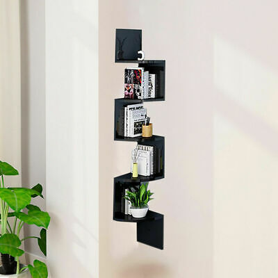 2/3/5 Tier Floating Wall Shelves Corner Shelf Storage Display Bookcase Bedroom 7