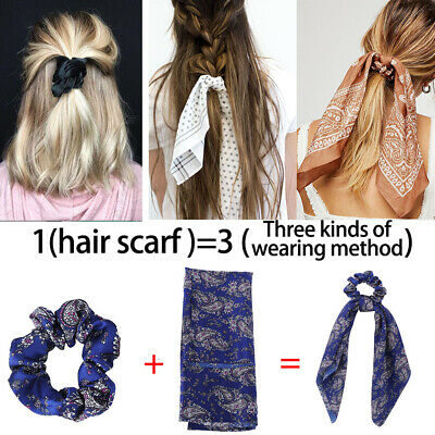 Boho Print Ponytail Scarf Bow Elastic Hair Rope Tie Scrunchies Ribbon Hair Bands 5