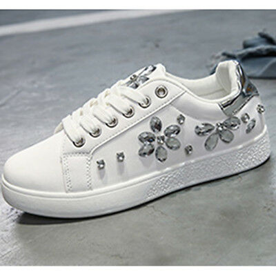New Women Spring Autumn Rhinestone Lace UP Sport Low Top Shoes Casual Sneakers 7