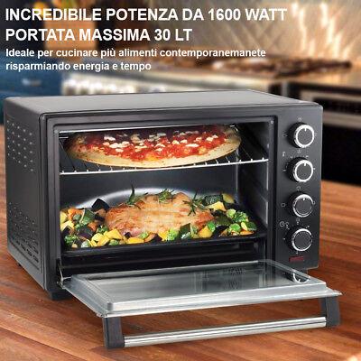 Forno Fornetto Elettrico Ventilato 30 litri 1600 W Luce Interna Timer Girarrosto 4