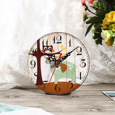 Vintage Rustic Wooden Wall Clock Home Antique Shabby Chic Retro Kitchen Decor HG 5