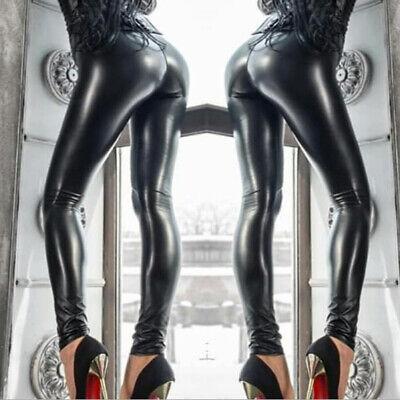 Damen Wetlook Leggings Leggins Fleece Thermo Hohe Taille Pants Lang Hosen Sexy 2