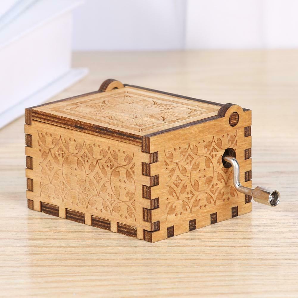 Game of Thrones engraved Handmade Wooden music Box Harry Potter Star Wars Toys 7