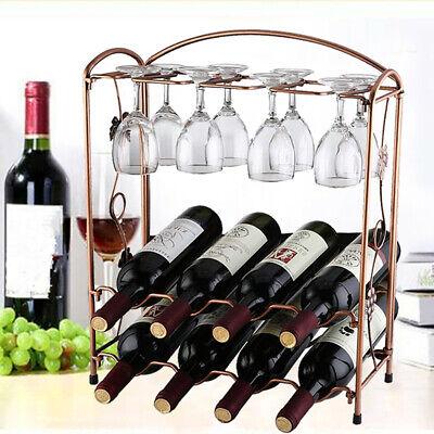 8 Bottle & 8 Goblet Wine Rack Holder Storage Organiser Display Shelf Bar 2 Tiers 2