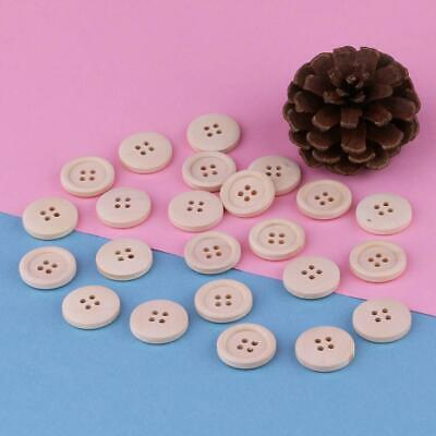 50 Pcs Mixed Wooden Buttons Natural Color Round 4-Holes Sewing Scrapbooking DIY 10