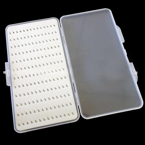 Slim Clear Easy Grip Foam Plastic Fly Fishing Holds Box Case 168 Flies Holder