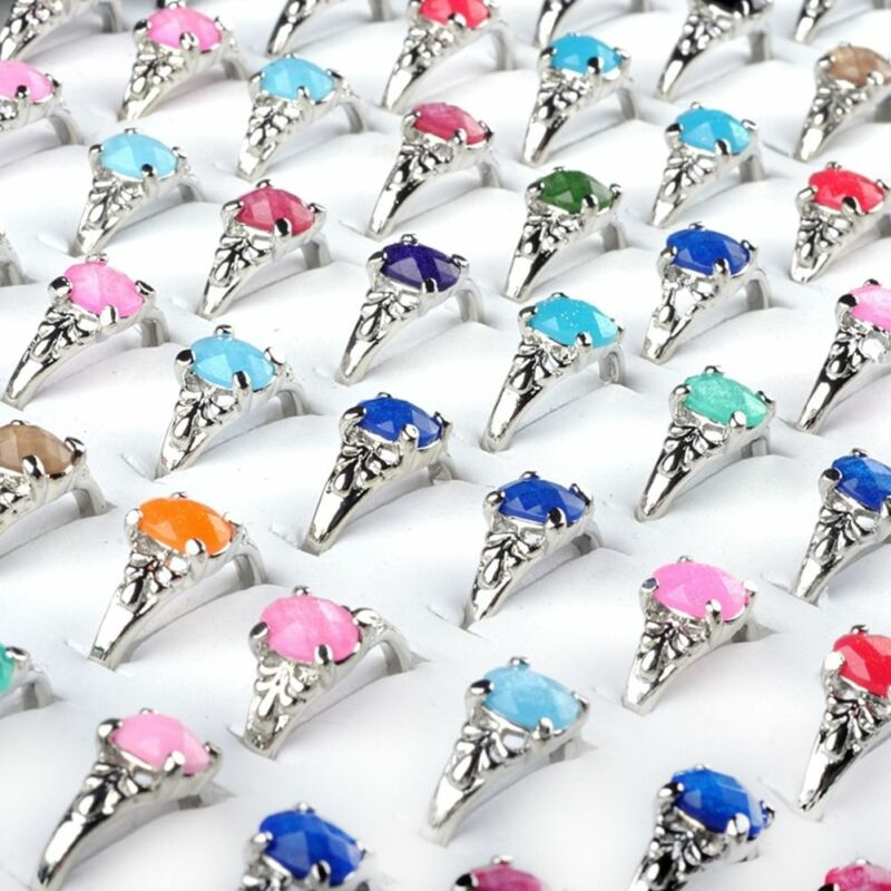 100/20Pcs Vintage Tibet Flower Silver Rings Wholesale Mixed Lots Costume Jewelry 6