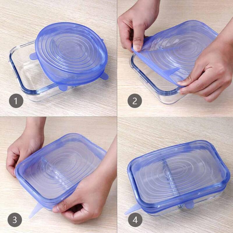 6 X Super Stretch Lids Silicone Covers Universal Food Covers Lids Easy Fits 7