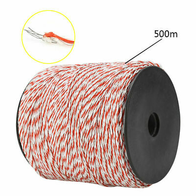 4x500m Roll Electric Fence Energiser Stainless Steel Poly Wire Insulator Rope 3
