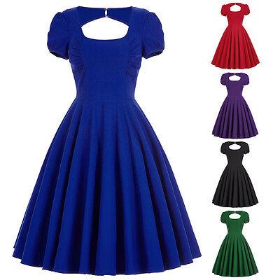 Retro 1950s 1960s Vintage Solido Manica A Sbuffo Vestitino Stile Anni '50 4
