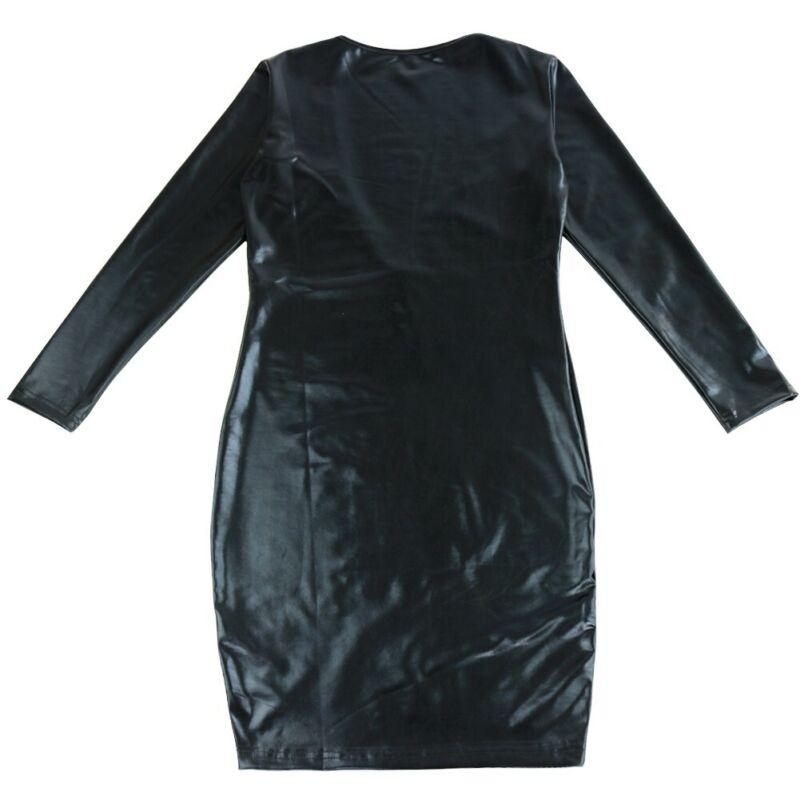 Damen Wetlook Bodycon Bandage Kleid Langarm V-Ausschnitt Minikleid Partykleid 6
