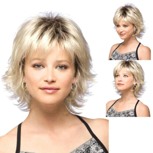 Womens Short Blonde Curly Hair Wavy Full Wig Synthetic Hair Cosplay Fancy  Dress 3 3 of 6 ... c4d2bc3c56