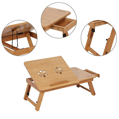 Portable Bamboo Laptop Notebook Desk Table Cooling Mouse Holder Tray Sofa Bed AU 5