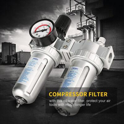 "1/2"" Air Compressor Filter Oil Water Separator Trap Tools With Regulator Gauge"