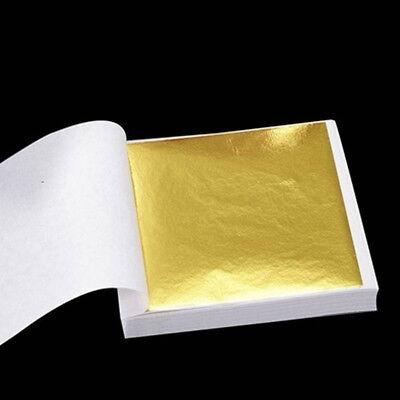 50//100sheets Imitation Gold Silver Copper Leaf Foil Paper Gilding Craft Sheets H