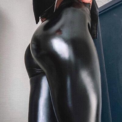 Damen Wetlook Leggings Leggins Fleece Thermo Hohe Taille Pants Lang Hosen Sexy 8