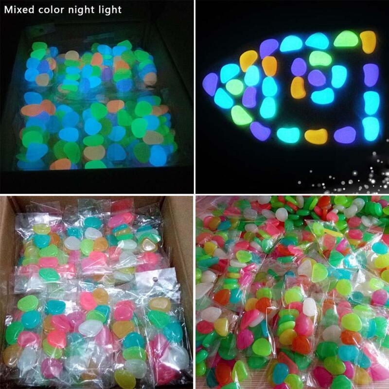 100Stk Leuchtsteine Leuchtkiesel Steine Nachtleuchtend GartenDekor 3Farbe