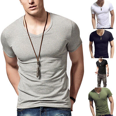Men Summer Korean Short Sleeve O Neck Solid Color Tops Fitness Casual T-Shirt TP