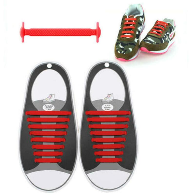 For Kids Adults Easy No Tie Rubber Shoe Laces Trainers Snickers Colored Shoelace 11