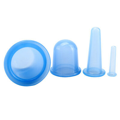 4pcs Medical Silicone Therapy Cupping Kit Set Massage Vacuum Rubber Cup Great