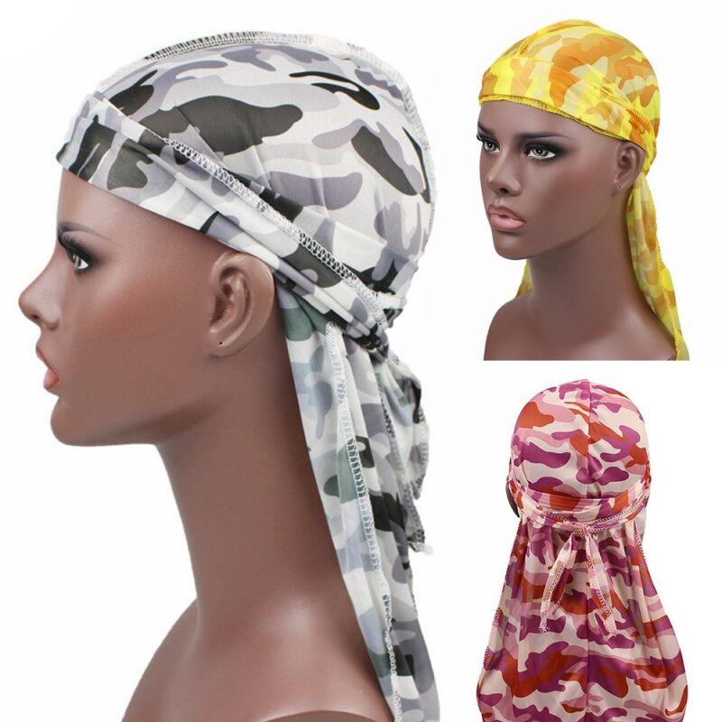 Mens Womens Camouflage Headwear Pirate Cap Hat Long Tail Bandana Turban Durag 2