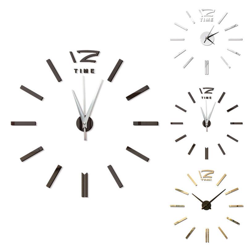 Diy 3d Roman Numbers Watch Wall Clock Home Decor Mirror Wall Sticker