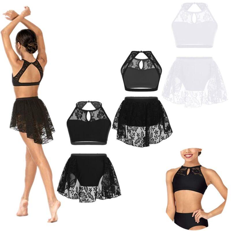 Kid Girls Two-Piece Ballet Dance Gymnastic Set Sleeveless Shiny Tank Top+Bottoms 3