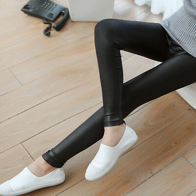 Women Skinny Faux Leather Stretchy Pants Leggings Pencil Tight Trousers Pretty 8