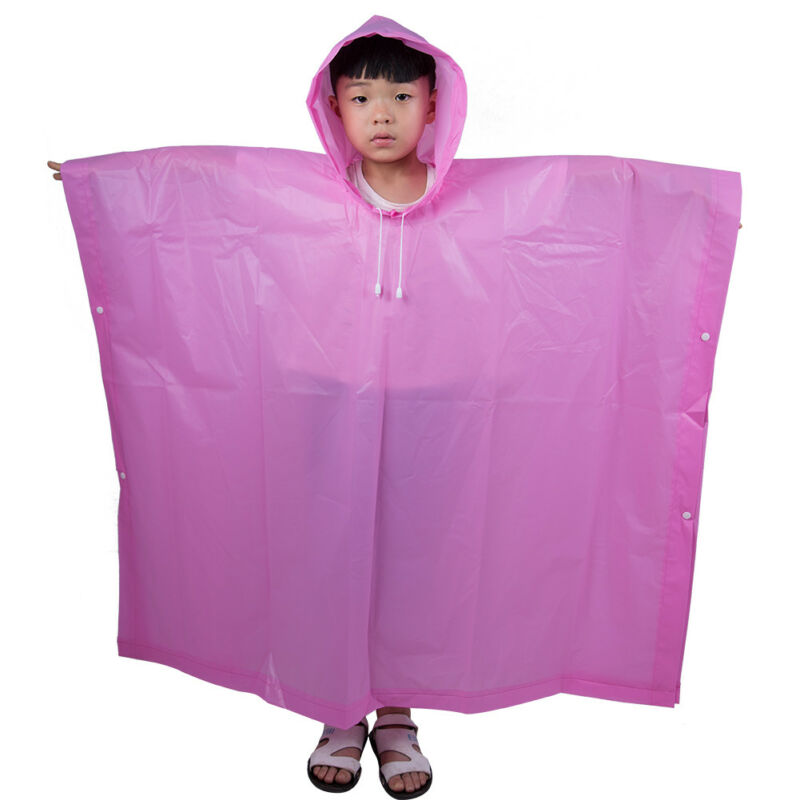 WATERPROOF EVA CHILDREN Raincoat Kids Poncho Transparent Plastic Rain Coat
