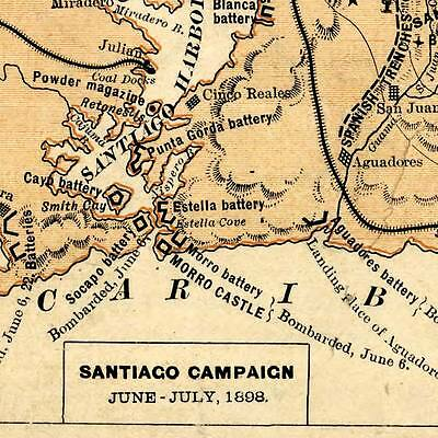 16x24 1898 Goffs Map of the Spanish American War Carribean