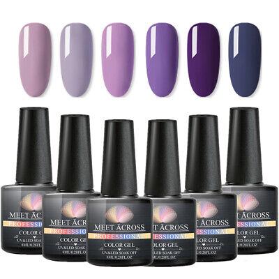MEET ACROSS 6 Bottles Gel Nail Polish Kits UV/LED Soak Off Gel Varnish Set 8ml 11