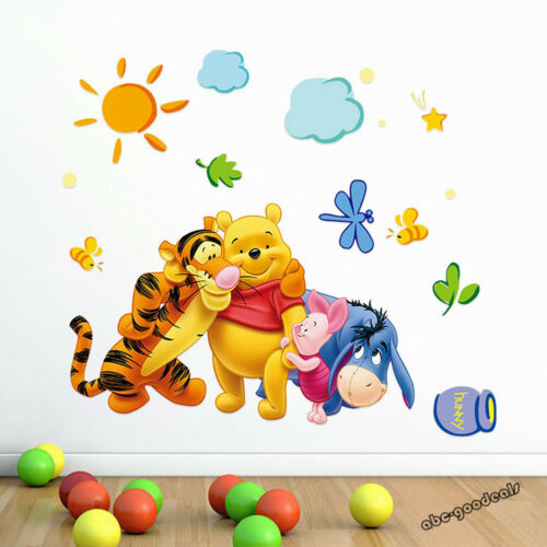 1 Of 3free Shipping Cute Winnie The Pooh Nursery Room Wall Decal Decor Stickers Kids Baby Bedroom
