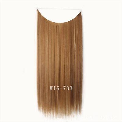 55cm Extension Cheveux lisse Ondulé Fil Invisible Transparent Monobande 8