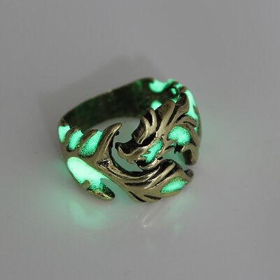 Unique Cool Mens Boys Luminous Dragon Ring Vintage Jewelry Club Pub Band Ring 6