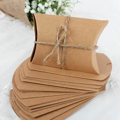 100x Wedding Candy Box Gift Boxes Paper Kraft Pillow Shape Bag Event Party Favor 12
