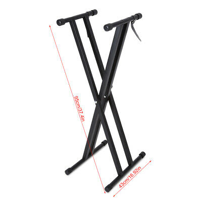 UK Double Braced Electronic Piano Keyboard Stand X Style Frame Height Adjustable 6