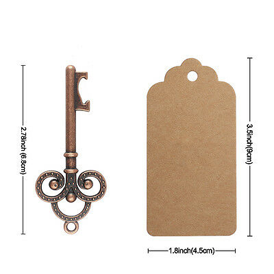 50×Vintage Metal Skeleton Key Shape Beer Bottle Opener Bridal Wedding Favor 6