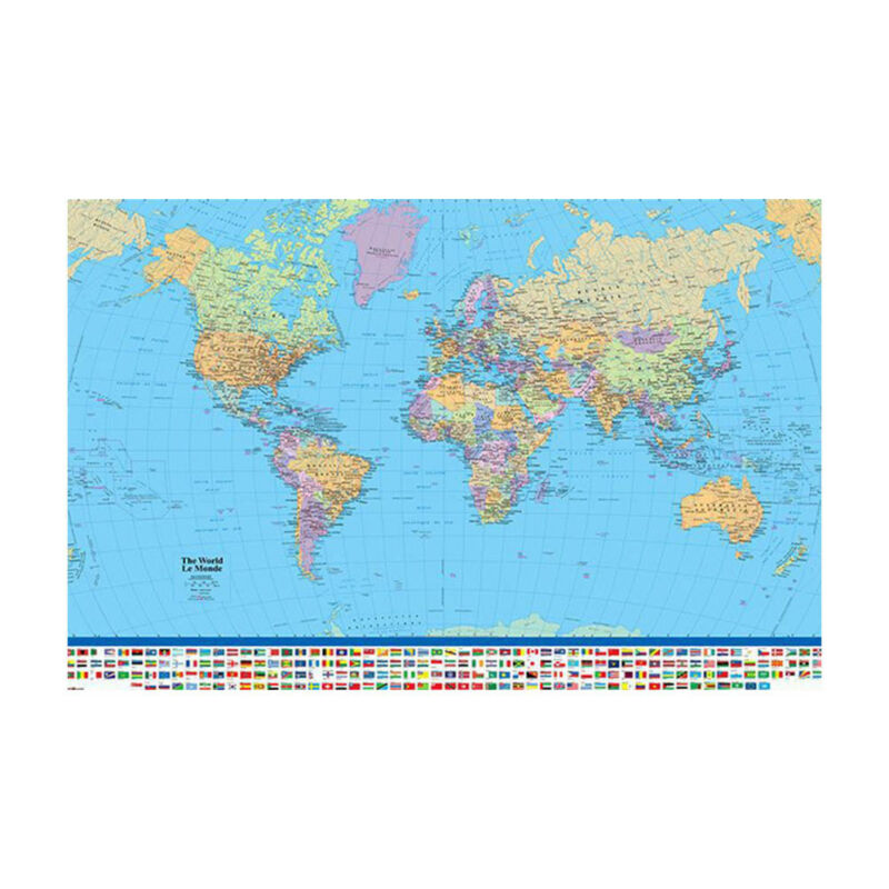 MAP OF THE WORLD IN MILLER PROJECTION FLAGS AND FACTS 90 X 60CM MAXI POSTER Be 2