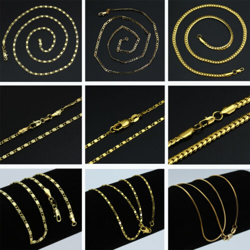16-30'' 18K Gold Plated Curb Belcher Trace Figaro Chain Necklace For Women Mens 4