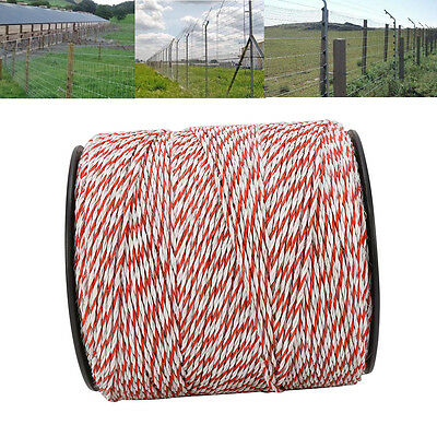 1000m Roll Polywire Electric Fence Fencing Stainless Steel Poly Wire Insulator 6
