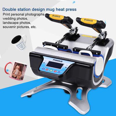 Double Station Digital Heat Press Transfer Sublimation Machine Cup Coffee Mug US 3