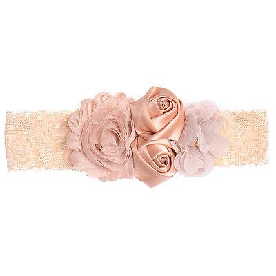 Newborn Baby Girl Pearl Lace Flower Headband Elastic Hair Band Kid Soft Headwear 4