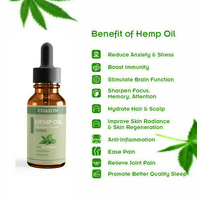 Organic Hemp Oil for Pain Relief Sleep Aid Anti Stress 5000mg Extract Drops 8