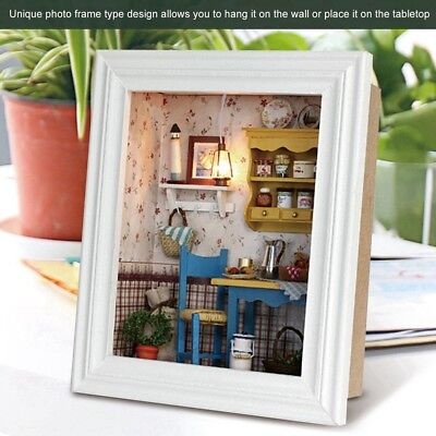 DIY Wood Dollhouse Photo Frame Assemble Kit Miniature Doll House W/ Furniture 3